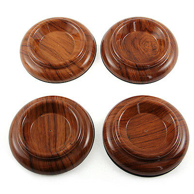 4x Piano Caster Cups - Standard Size - Rosewood Stripe Brown High Quality