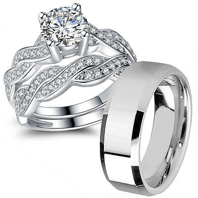 His Hers Stainless Steel CZ Infinity Wedding Engagement Matching Ring Band Set