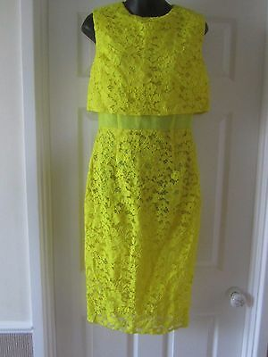 Bnwot River Island Yellow Lace Overlay Midi Dress Size 12
