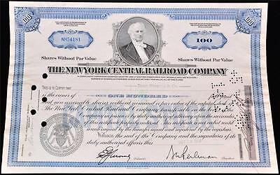 1955 NY Central Railroad Company Stock Certificate 100 Shares Vintage Railway