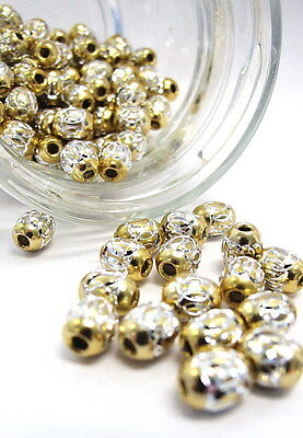 Aluminum Beads Oval 6x9mm Spacer Beads Big Hole Yellow Findings 30 pcs