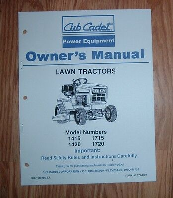 cub cadet 1415 1420 1715 1720 lawn and garden tractor owners manual rh picclick com Old Cub Cadet Lawn Tractors cub cadet 1320 manual free