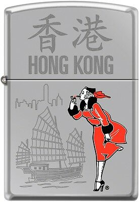 Zippo Windy Girl Traveling Cities Hong Kong High Polish Chrome New Rare