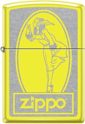Zippo Windy Girl WindProof Lighter Classic Poster Neon Yellow New Rare