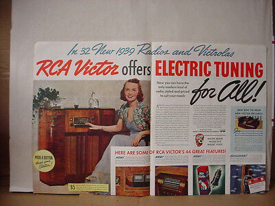 1938 RCA Victor Radio Phonograph Huge Colour Vintage Print Ad 092