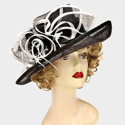 Feather Curly Bow Sinamay Kentucky Derby Church Dressy Wedding Hat Wide Brim