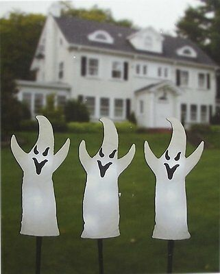 "HALLOWEEN LED Lighted Ghosts 15.3"" Height NEW IN BOX - Set Of 3"