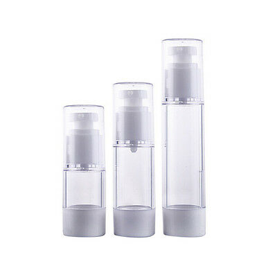 Mini Portable Airless Bottle Cosmetic 15ml 30ml Pump Cover Travel Skincare TO