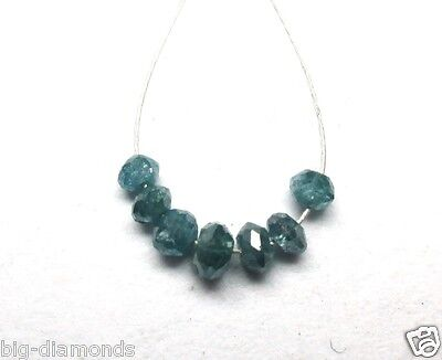 0.42Cts Natural Real Blue Color Drilled Diamond Faceted Beads 2.06-2.36 Mm