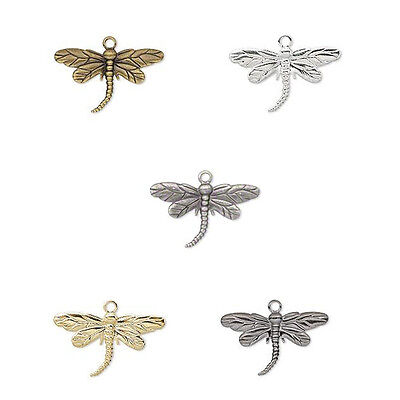 20 Dragonfly Dangle Charm Beads Gold Silver Gunmetal or Antique Gold Plated 26MM