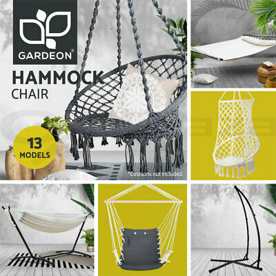 Deluxe Hanging Hammock Chair Hammocks Swing Cushion Outdoor Indoor Camping