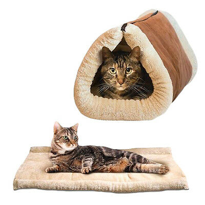 2 In 1 Pet Tunnel Bed Mat Cat Cushion Luxury Puppy Pad Fleece Self Heating Sofa