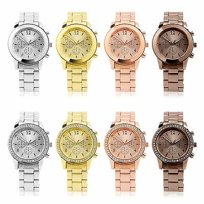 Luxury Ladies Women Crystal Diamond Stainless Steel Bracelet Quartz Wrist Watch