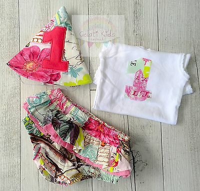 French Journal Floral Cake Smash Set / 1st Birthday Outfit / Photo Prop