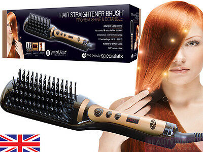 Rio ProHeat Shine & Detangle Hot Hair Straightener Heated Brush & 2Yr Warranty