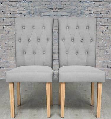 Pair of Grey Button Back Fabric Upholstered Dining Chairs natural Legs Two Chair