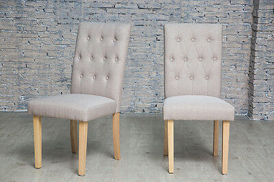 Pair Of Natural Button Back Fabric Upholstered Dining Chairs Natural Legs Seatin