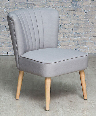Grey Oyster Occasional Accent Chair With Natural Legs Fluted Back