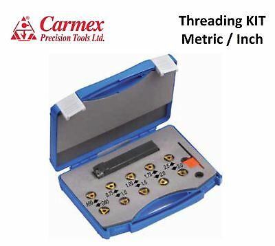CARMEX Internal / External Threading KIT. Holder + 10  inserts Metric or Inch