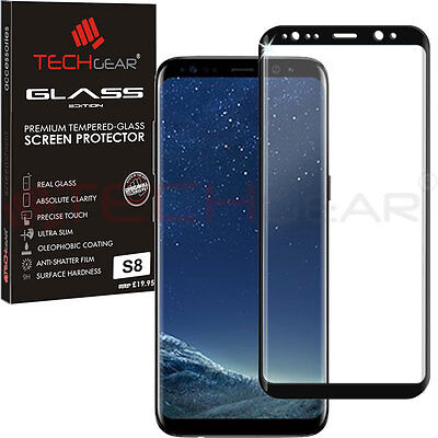 Black TECHGEAR TEMPERED GLASS FULL Coverage Screen Protector Samsung Galaxy S8