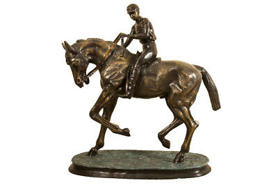 Stunning Large Horse & Jockey Bronze Sculpture Mene