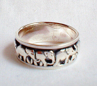 Lucky Elephant Spinning Worry Ring Solid 925 Silver Jewellery Size Q US Size 8.5