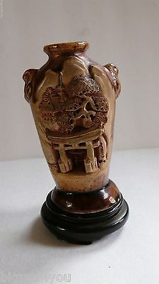 "Vintage Banko Ware Pottery Vase, Japan, 4"" Tall"