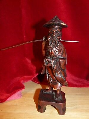 Chinese Vintage Art - Fisherman w/Fishing Pole - Wood Sculpture Figure post 1940