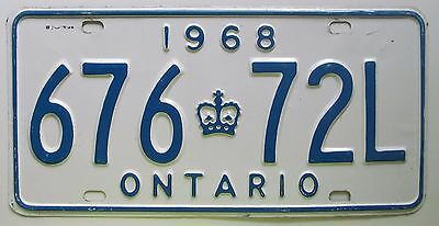 Ontario 1968 License Plate NICE QUALITY # 676-72L