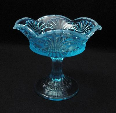 Vintage Fenton Ice Blue Opalescent Tokyo Ruffled Pedestal Compote Bowl