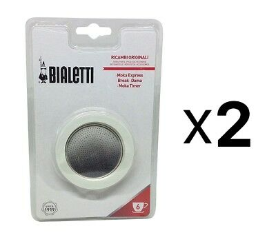 Bialetti 6 Cup Stovetop Moka Express Replacement Gasket Seal Rubber New 2-Pack