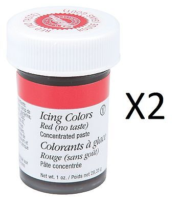 Wilton Red No Taste Food Coloring Concentrated Paste 1oz Icing/Cakes (2-Pack)