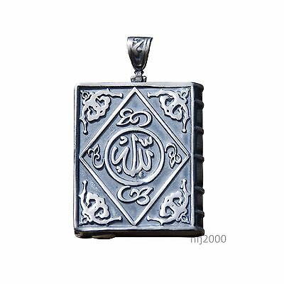 Sterling Silver Open-able Book Talisman Pendant w/ Allah Muhammad 1-1/4 x 15/16""