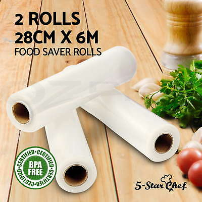 NEW 2X Vacuum Food Sealer Rolls Saver Seal Bag Storage Heat Commercial 28CM 6M