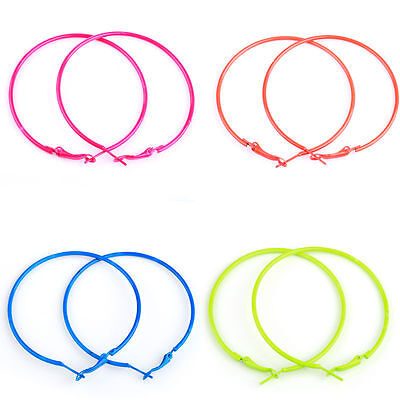 10pcs 56mm Lots Fashion Candy Color Circle Basketball Wives Loop Hoop Earrings