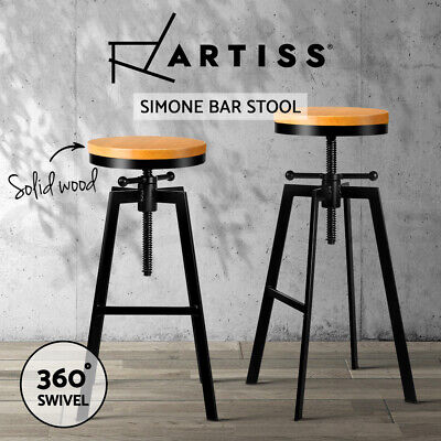 Vintage Retro Industrial Bar Stool Steel Kitchen Barstool Swivel Chair 098