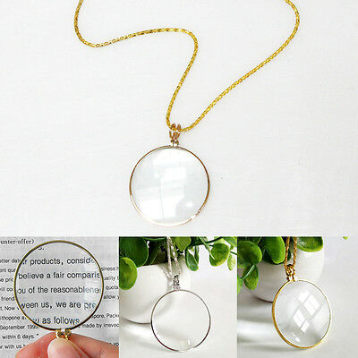 6x Magnifier Necklace Read Magnifying Glass Circular Decorative Monocle Pendant