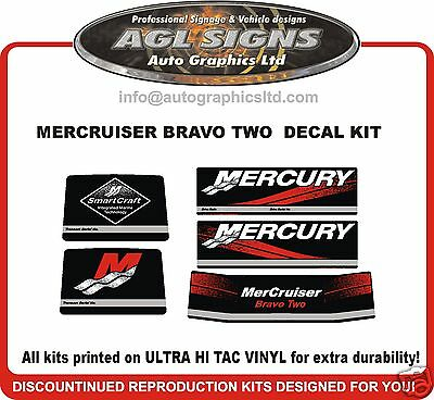 Mercruiser Bravo Two  Outdrive Decal Kit  reproductions mercury 2