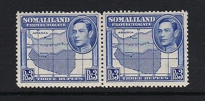 Somaliland Protectorate SG103 3r bright blue pair - mounted mint £50