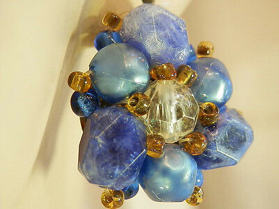 Pretty Blue Crackle Lucite Vintage 50's W Germany Signed Clip Earrings 108AG6