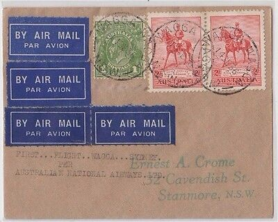 Stamps various on cover Wagga Wagga to Sydney 1st flight to Ernest Crome