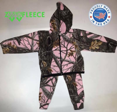 Winter Fleece Pink Camouflage Kids Girls Jacket Pants Hood Sweater Coat Hunt