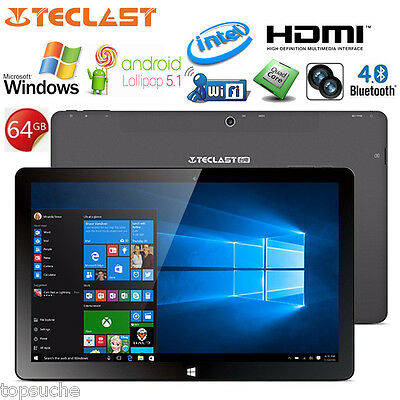 64GB Teclast Tbook11 10.6'' Windows10 Android 5.1 Intel QuadCore WIFI Tableta PC