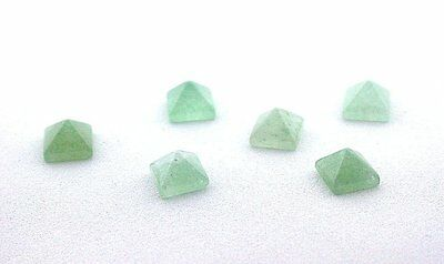 TWO 6mm Green Aventurine Square Pyramid Cab Cabochon Gem Stone Gemstone EBS7559