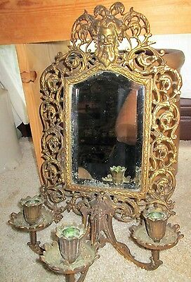 Bradley & Hubbard Antique Brass Wall Sconce Beveled Mirror 3 candles Zeus God