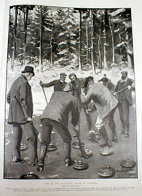 1903 illustrated newspaer w detailed engraving SPORT of CURLING in SCOTLAND