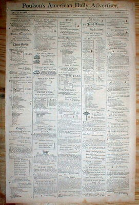 1808 Philadelphia PA newspaper w 3 RUNNAWAY SLAVE REWARD ads, one for NEGRO GIRL