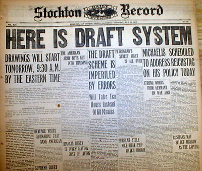 BEST 10 1917 newspapers w WW I US DRAFT of MEN into ARMY - BIG banner HEADLINES