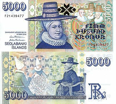 ICELAND 5000 Kronur Banknote World Paper Money aUNC Currency Pick p-60c Sign 32