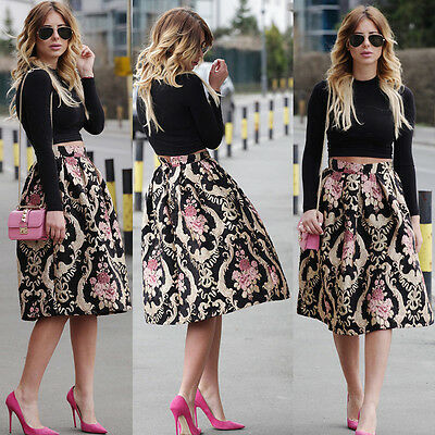 Women's Retro Floral High Waist Pleated Party A-Line Midi Skater Skirt Dress